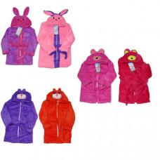 Халат для девочек с капюшоном вышивка животных 2-8 лет