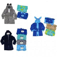 Халат для мальчиков с капюшоном вышивка животных 2-8 лет