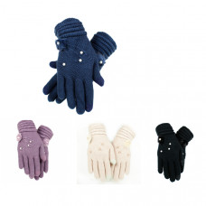 """Перчатки вязаные """"Цветок"""" с декором (бусины + норка) сенсорные"""