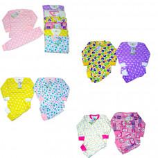 Пижама для девочки цветная, с начесом (футер двунитка) р.28-34(3-7лет)
