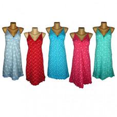 """Женская ночная сорочка на лямочках """" Горох"""" цвета в ассортименте"""