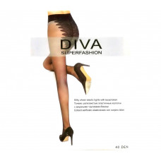 Женские колготки, с ажурными трусиками Diva Black 40 Den