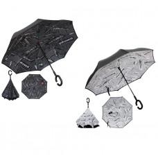 """Зонт наоборот """"Газета"""", механический, R=53см, цвет чёрный"""