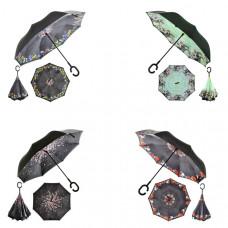 """Зонт наоборот """"Букет"""", механический, R=58см, цвет чёрный"""