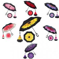 """Зонт-наоборот """"Цветы"""", механический 8 спиц, R = 56 см"""